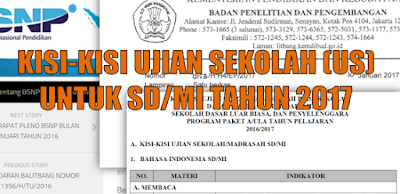 Download Kisi Kisi USBN SD/ Mi 2017 IPA, Bahasa Indonesia, Matematika