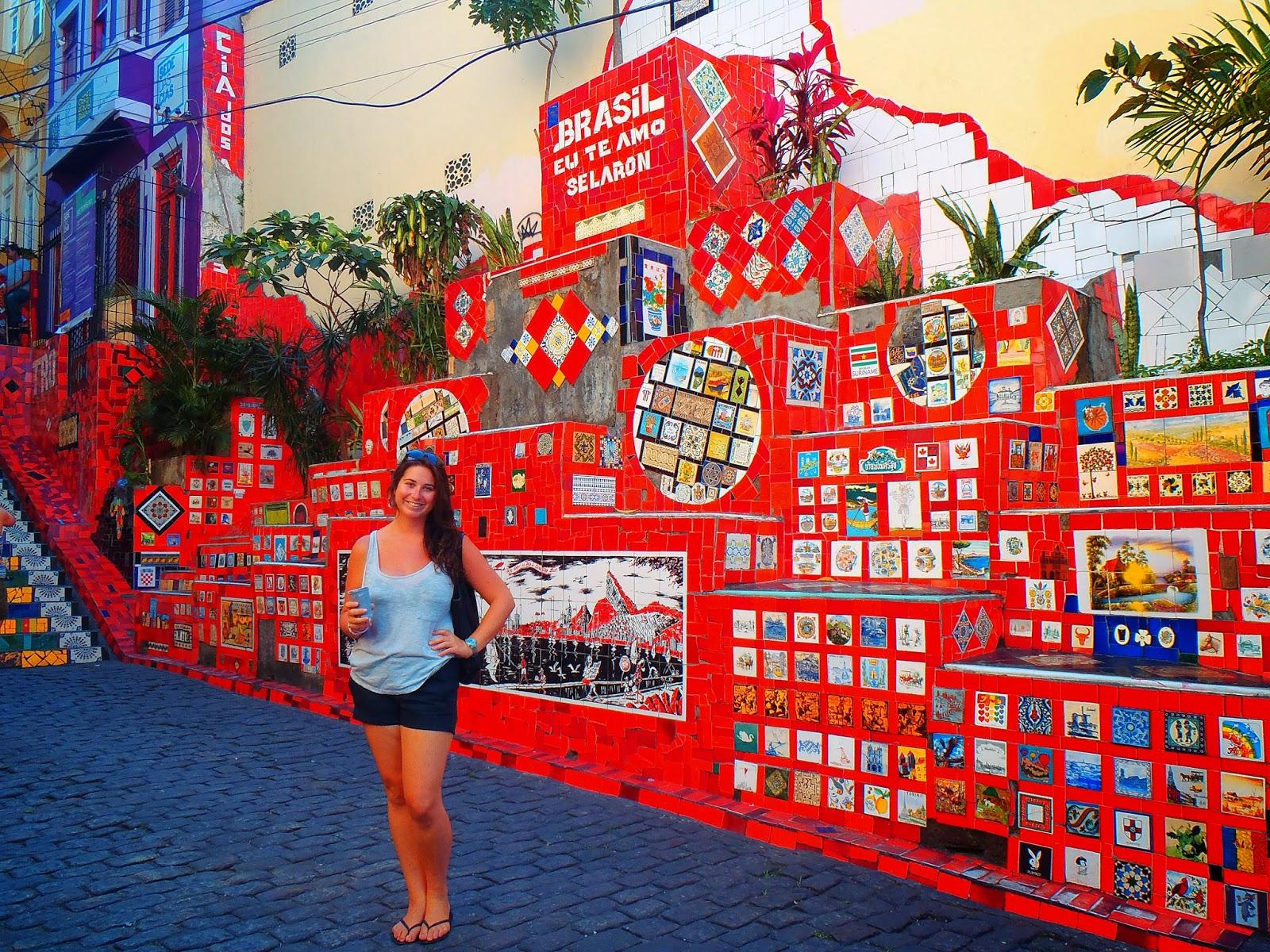 Girl at Escadaria Selaron in Rio de Janeiro