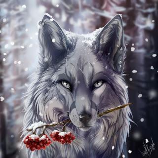 Loup Blanc Baies Rouges - Avatar en HD
