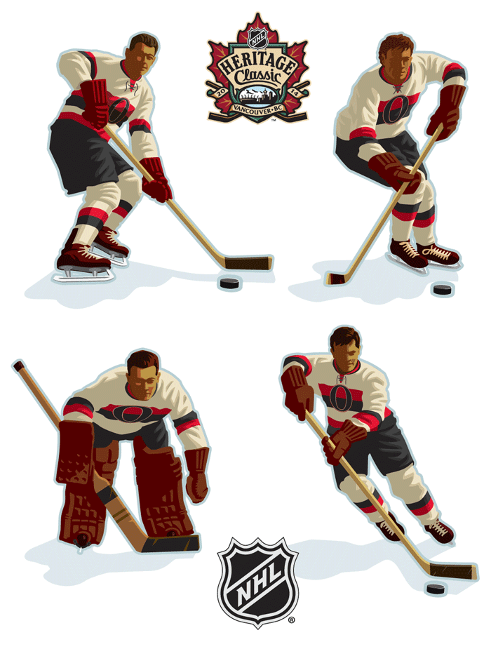 NHL Player illustrations for Heritage Classic