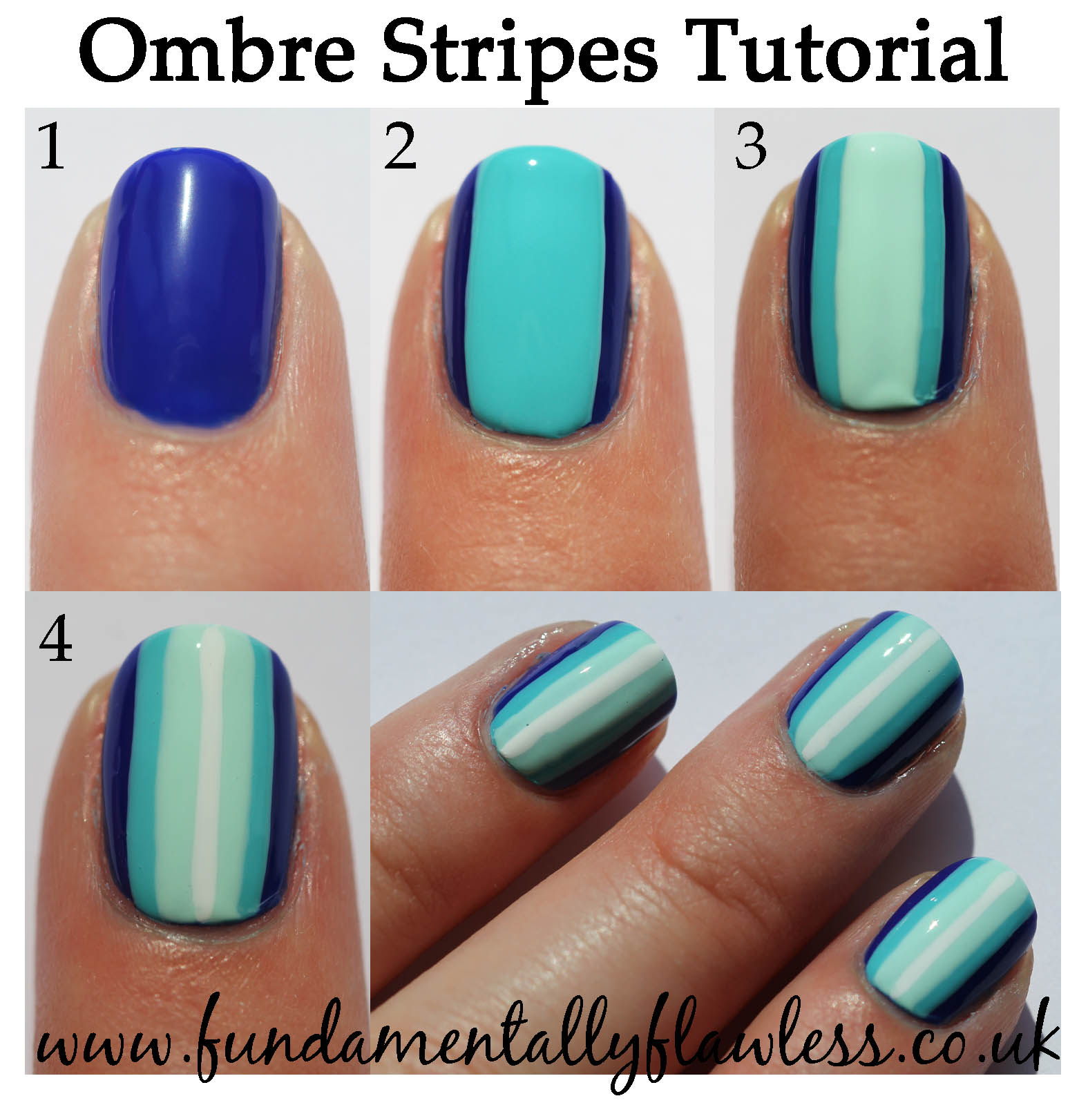 Fundamentally Flawless: Blue Ombre Stripes Nail Art Tutorial