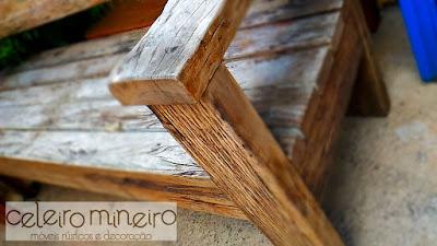 banco rústico em madeira maciça