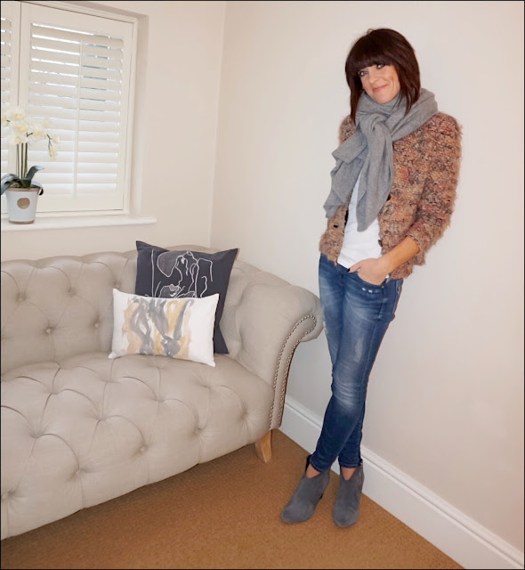 My Midlife Fashion, Zara cashmere scarf, j crew vintage long sleeve tee, iro paris helga jacket, zara skinny distressed jeans, hush thornton ankle boots