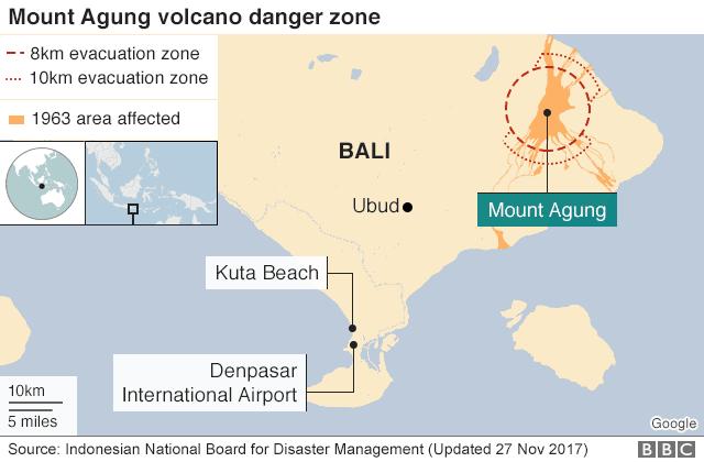 Bali's Mount Agung map