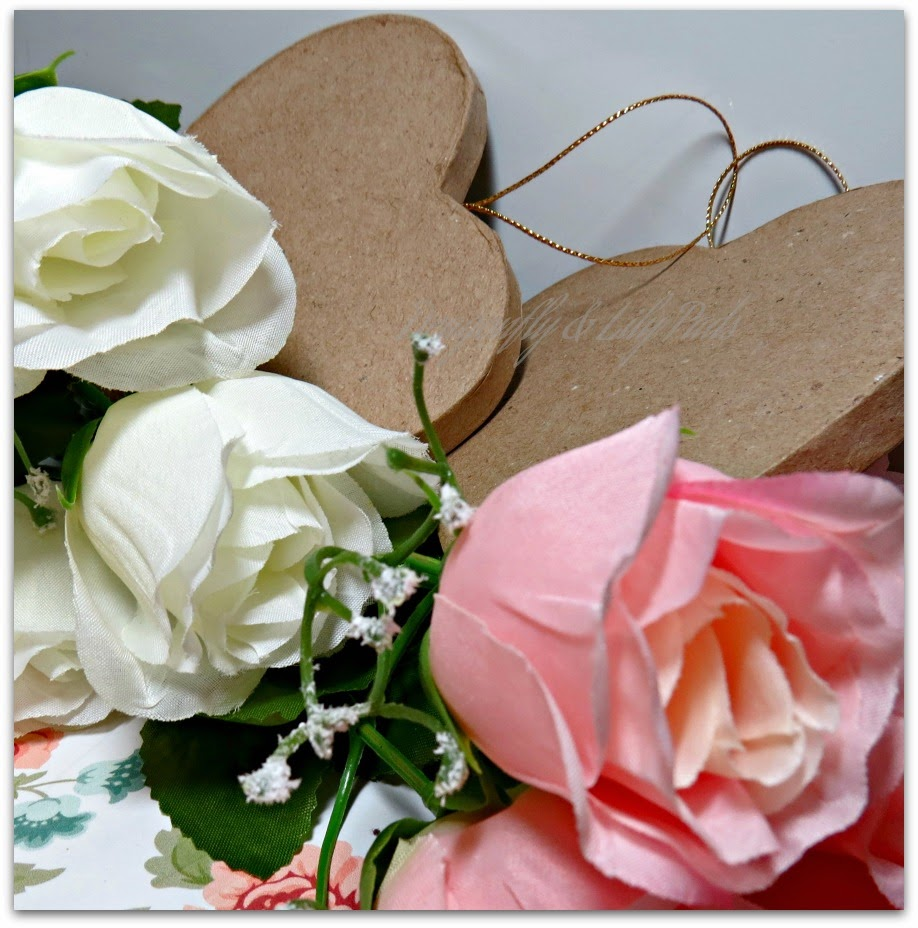 Roses, Ivory, White, Cardboard Hearts, Hearts a Flutter Valentine Decor