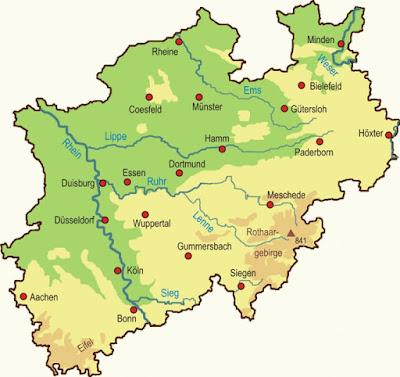 Mapa región Renania del Norte-Westfalia