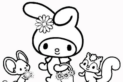 Gambar Mewarnai Hello Kitty Dan Melody
