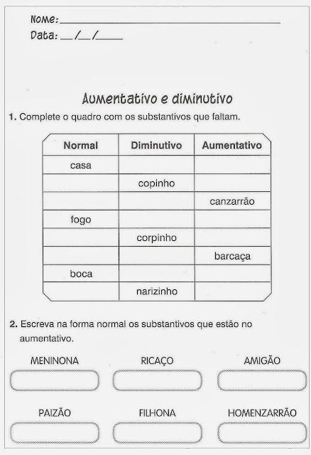 Atividades de Português: Para o post de hoje trouxe atividades de português e alfabetização para alunos do Ensino Fundamental I.