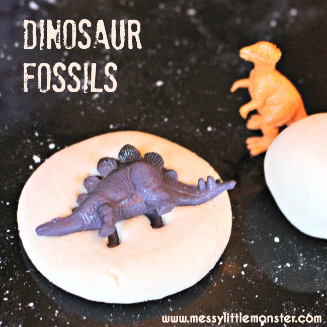 Salt dough dinosaur fossils recipe.  A simple dinosaur activity idea for toddlers and preschoolers.