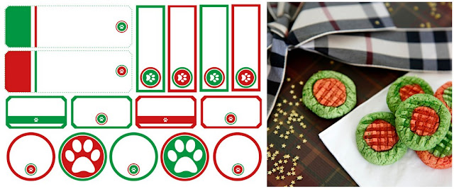 Printable red and green dog paw Christmas dog treat tags and lables