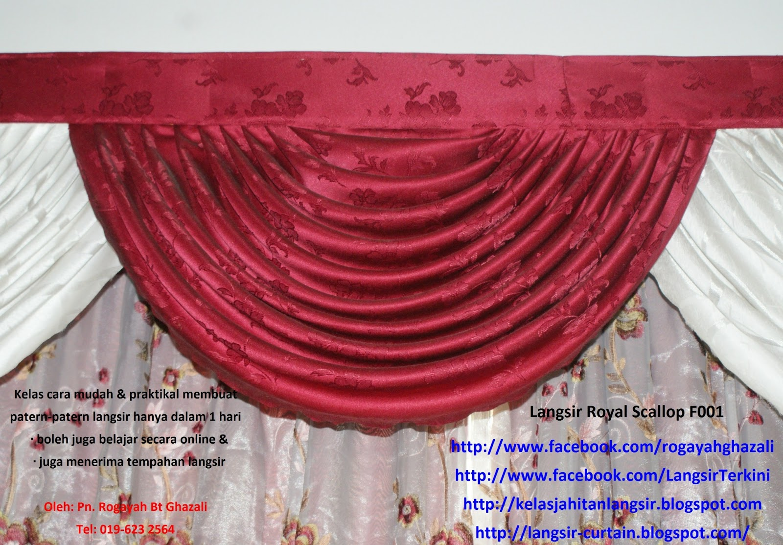 Belajar Jahit Langsir Cara Mudah Hanya Dlm 1 Hari Roah Ghazali Cikgu 019 623 2564 Membuat Royal Scallop