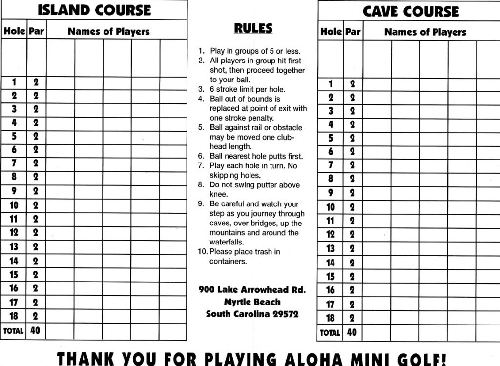 The Ham And Egger Files New In Crazy Golf Museum Arrowhead Scorecard