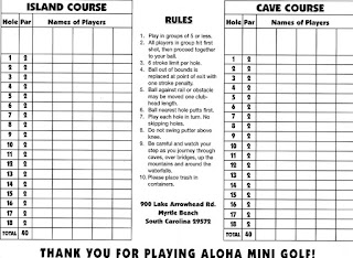 Scorecard from Aloha Mini Golf in Myrtle Beach. From Pat Sheridan / The Putting Penguin