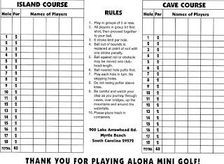 Scorecard from Aloha Mini Golf in Myrtle Beach. From Pat Sheridan / The Putting Penguin