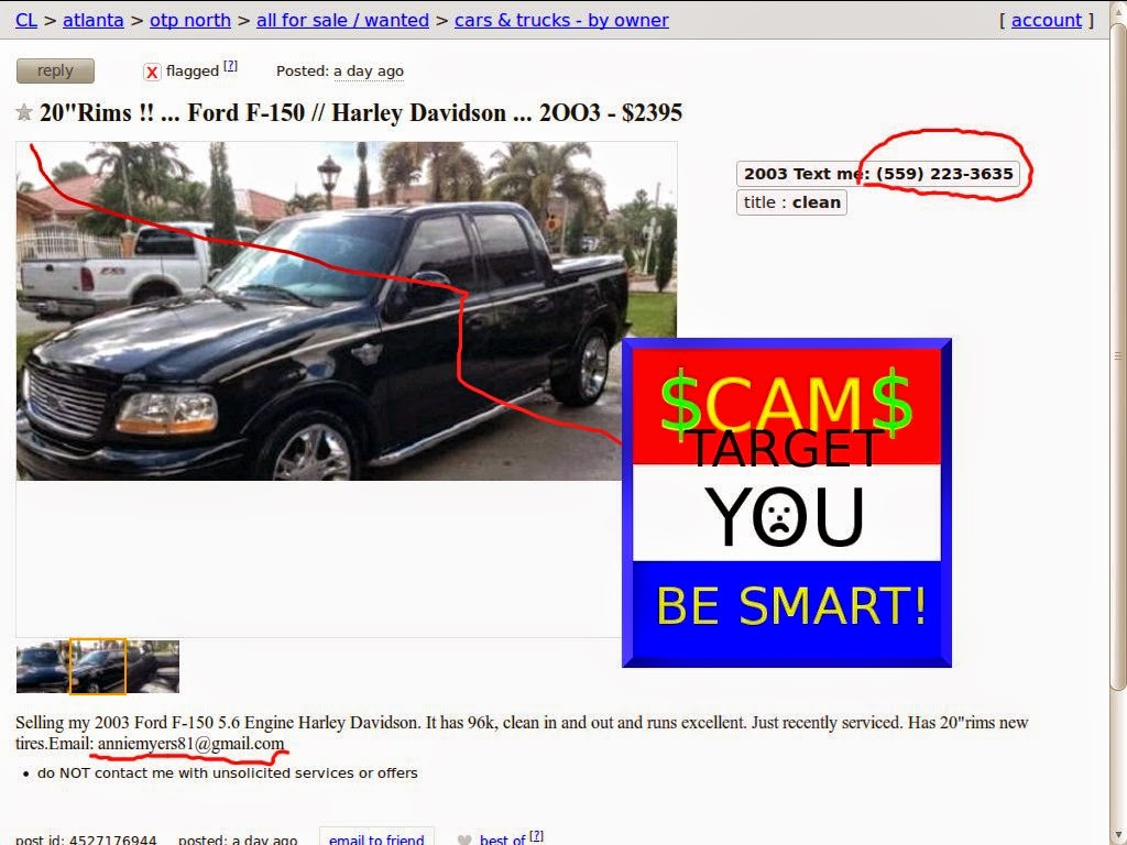 Vehicle Scams - Google Wallet, Ebay Motors, Amazon Payments ...
