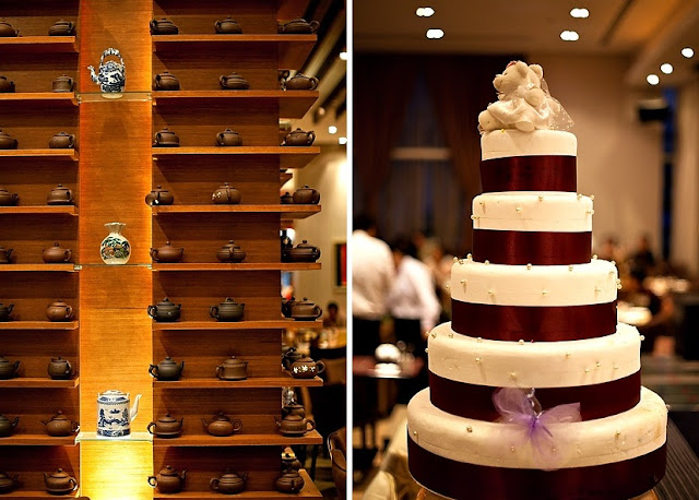with red ribbon, white cake, 5 tier
