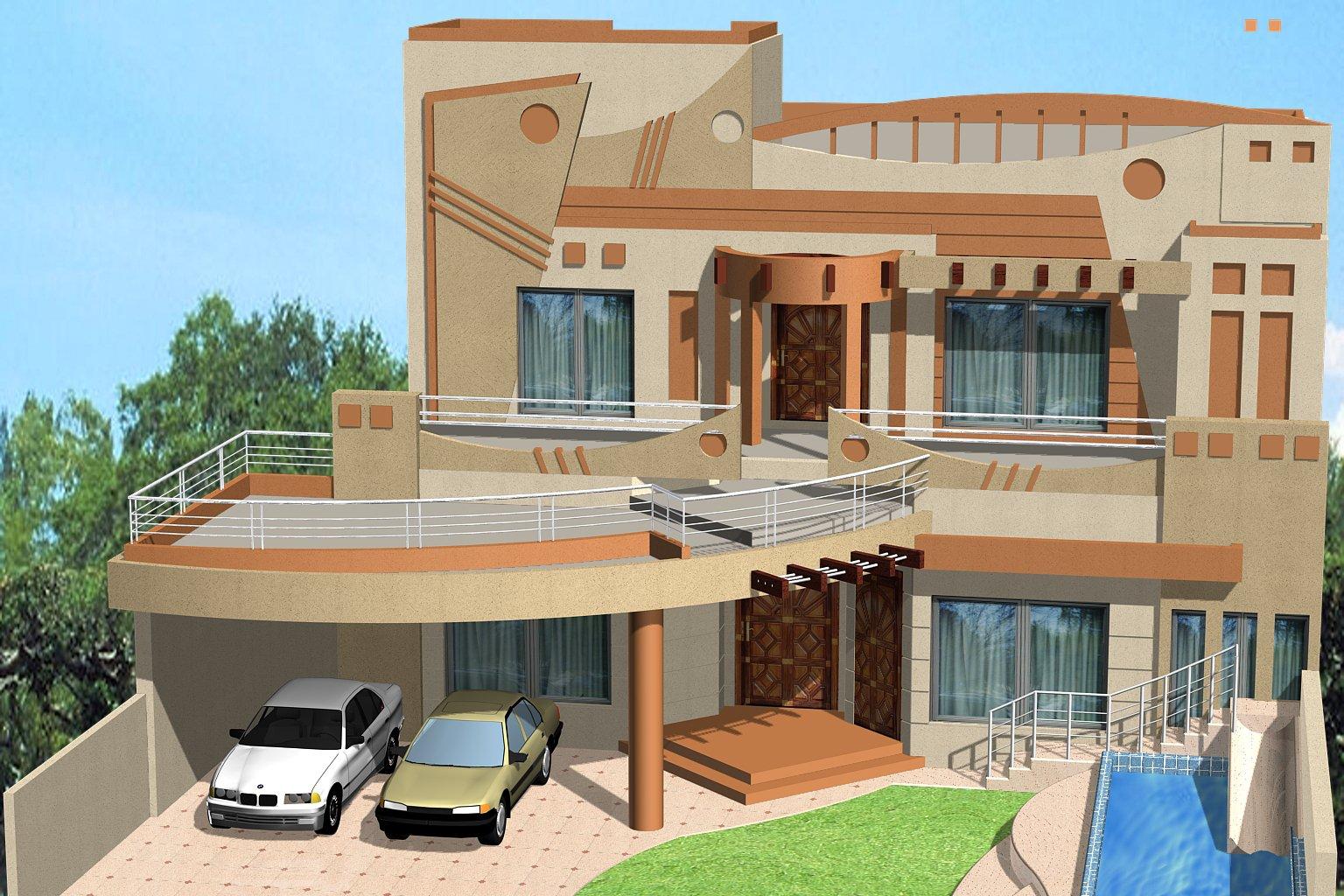 3D Front Elevation.com: 1 Kanal House, Villa, Banglow