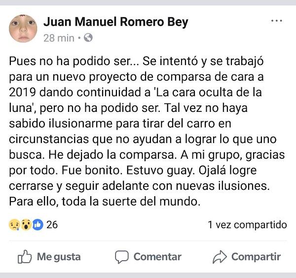 Romero Bey anuncia su ausencia para 2019