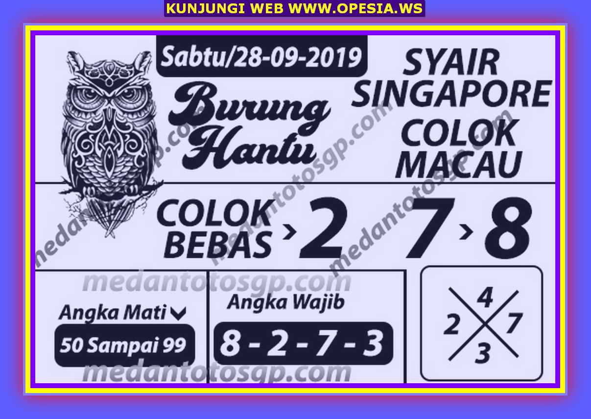 Syair sgp Sabtu 28 September 2019 60