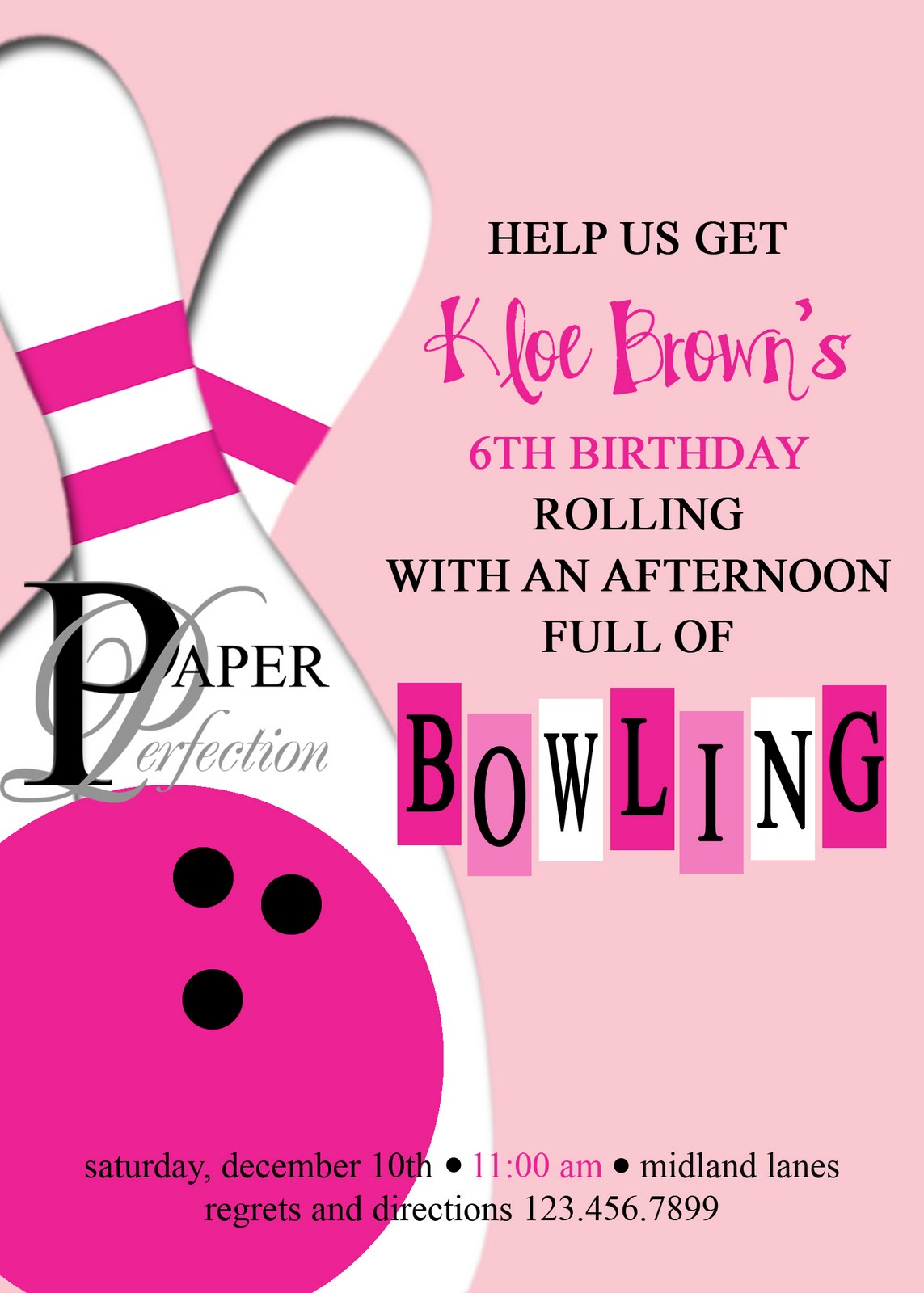 paper perfection  pink bowling party invite and printables