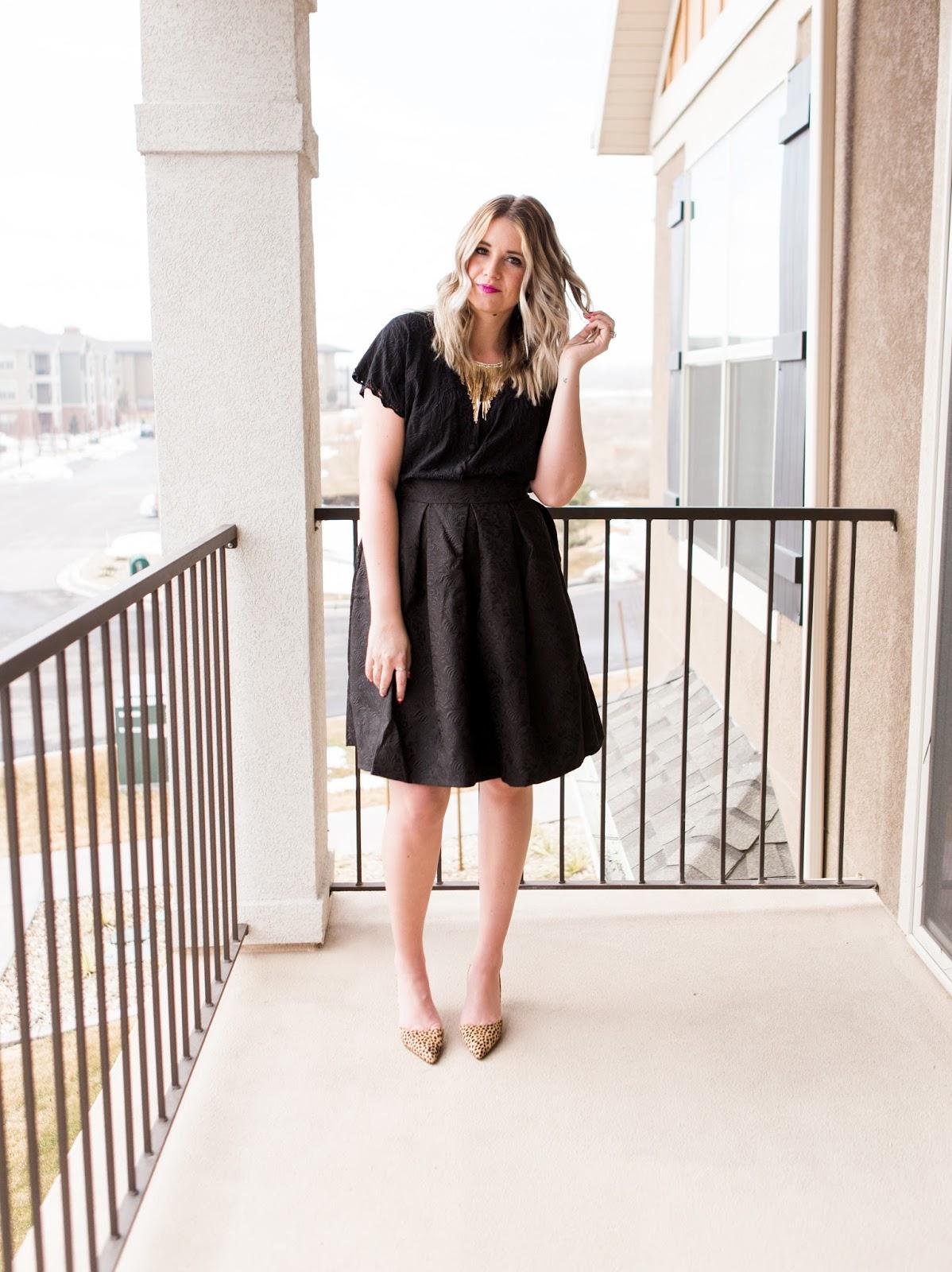 All Black, Cheetah Heels, Statement Necklace, Modest Fashion Blogger