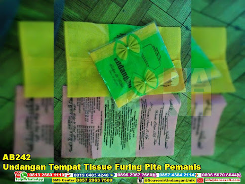 jual Undangan Tempat Tissue Furing Pita Pemanis