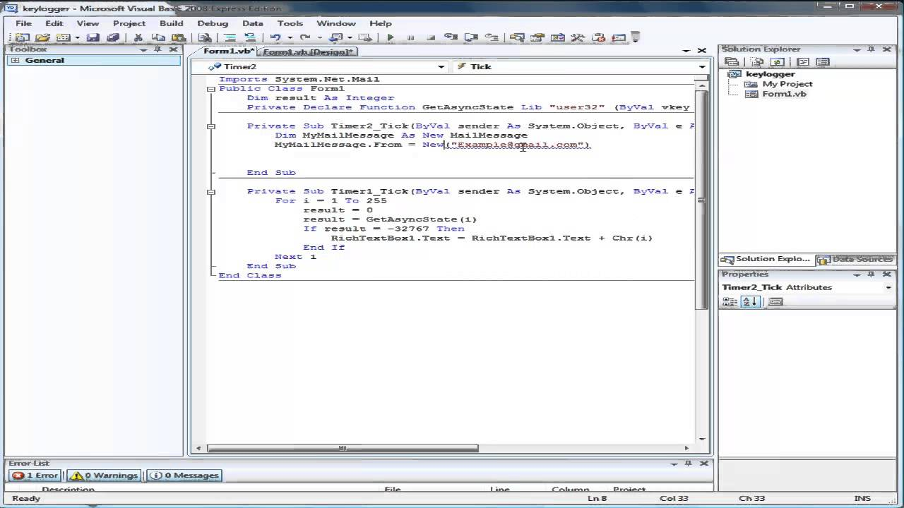 How to make a email sending keylogger in Visual Basic