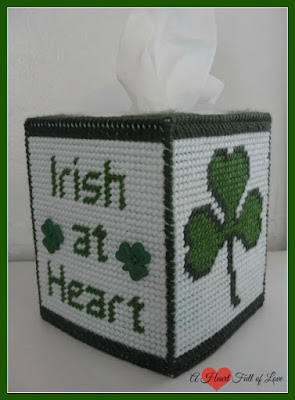 Irish at heart green tissue box pattern plastic canvas