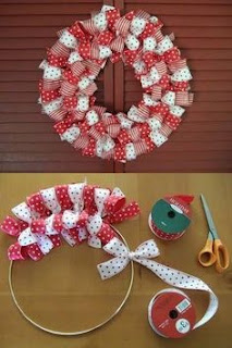 Easy To Make Christmas Ribbon Wreath DIY Ribbon Wreath in Christmas Colors