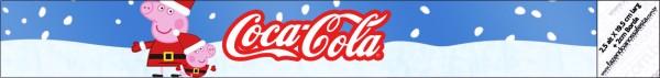Etiquetas de Peppa Pig en Navidad para personalizar botellas de agua.