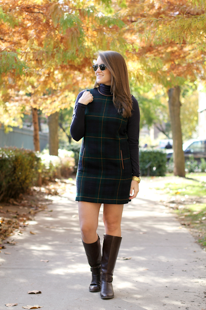 Ralph Lauren Leather Trim Plaid Dress