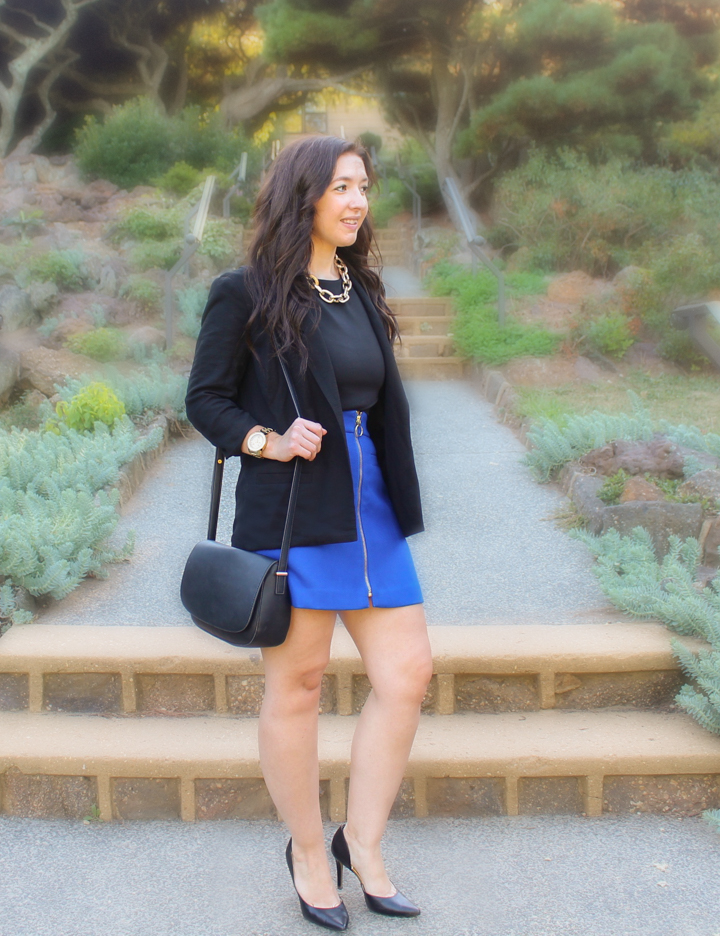 how-to-wear-bright-colors-in-the-fall, can-you-wear-bright-colors-in-the-fall, how-to-wear-bright-colors, how-to-wear-cobalt, how-to-wear-cobalt-in-the-fall, lc-lauren-conrad-blazer, express-tulip-hem-crop-top, express-zipped-a-line-skirt, express-chunky-link-necklace, links-of-london-white-topaz-pearl-drop-earrings, movado-bold-luxe-chronograph-watch,