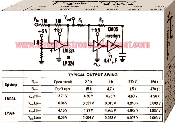 Op Amp Swing Rail-To-Rail Circuit Diagram