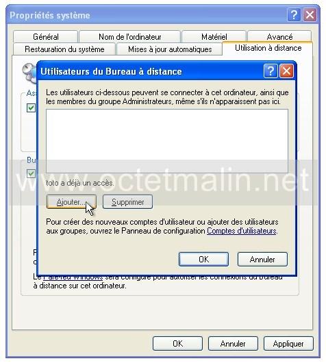 ...PC à distance et ensuite celle-ci redirigera la demande vers votre PC si la demande est bien faite sur le port 3389 (qu'on indiquera dans la règle).Celui-ci se trouve dans : Démarrer, Programmes, Accessoires, Connexion Bureau  à distance. Saisissez l'IP de votre PC si vous êtes sur un client...