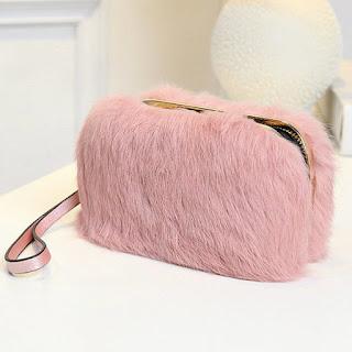 Cheap Metal Trimmed Zip Around Fuzzy Evening Bag