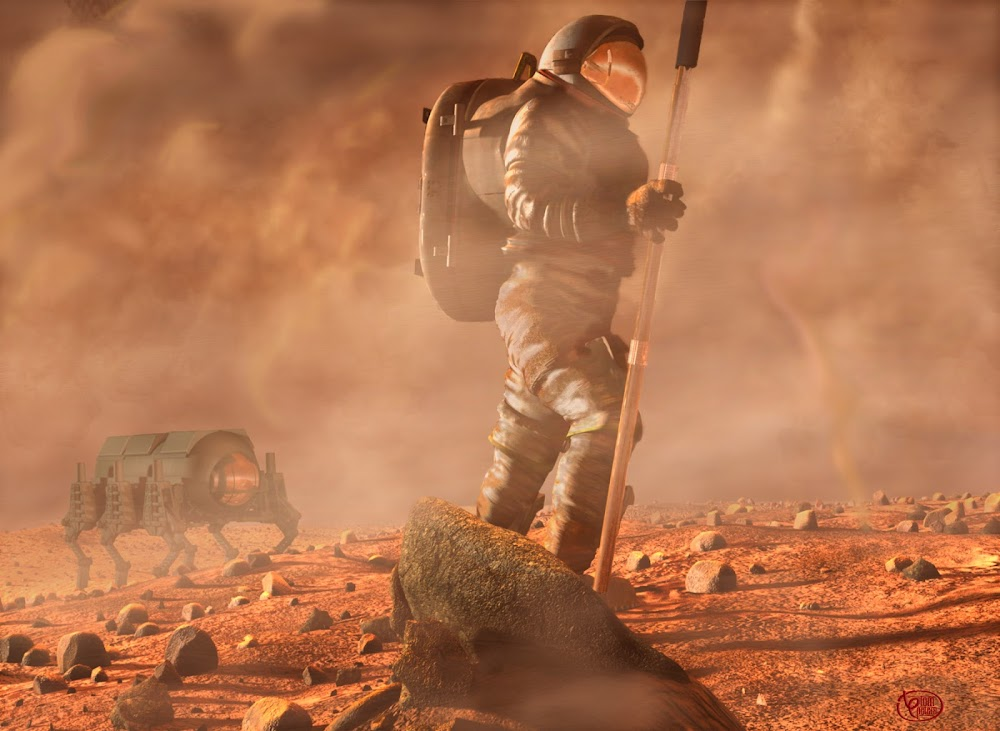 Astronaut exploring Mars in a sandstorm by Thomas Peters