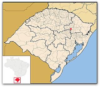 Cidade de Cotiporã, no mapa do Rio Grande do Sul