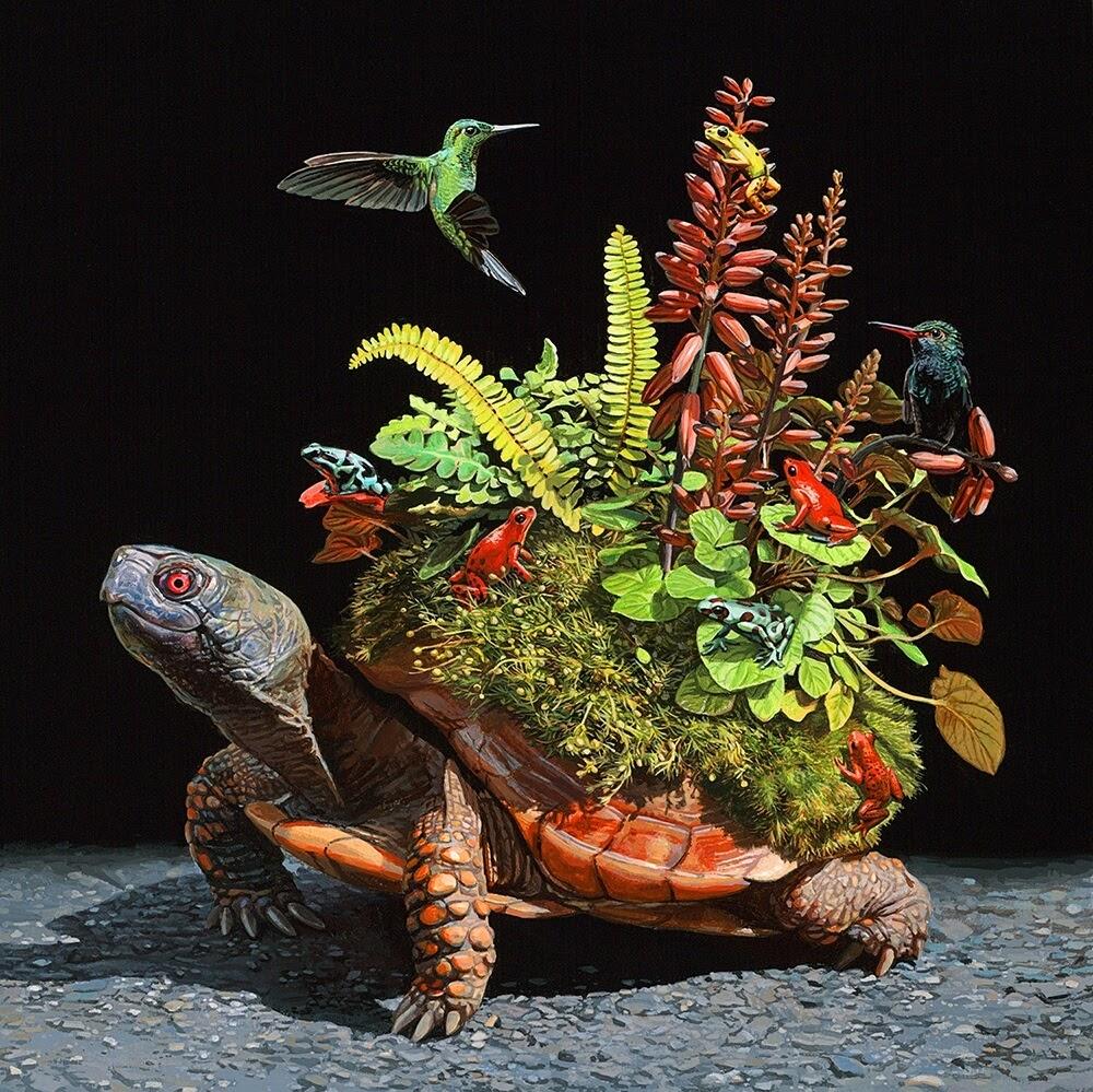 09-Terrarium-Lisa-Ericson-Animals-Interspecies-Friendships-Paintings-www-designstack-co