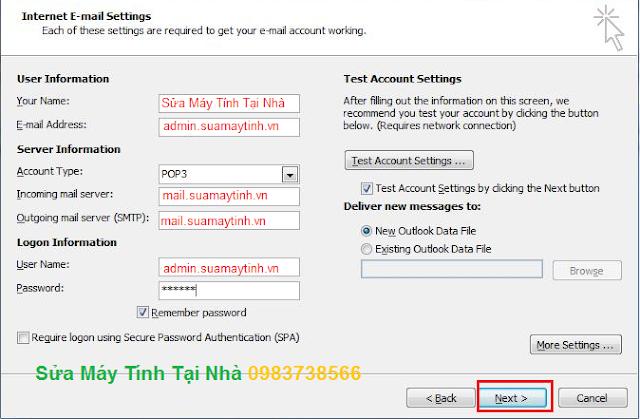 Cài đặt Mail trên Microsoft Outlook 2010 - H05