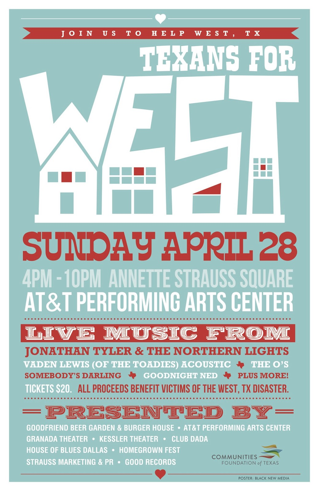 Oh So Cynthia: Support the Texans For West benefit concert