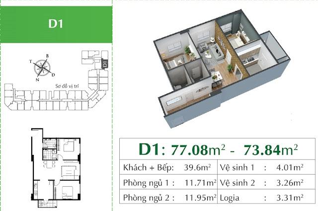 Thiết kế căn D1 Eco City Việt Hưng