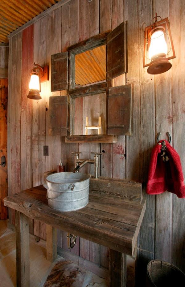 Baños Rusticos Ideas:dos farolillos a lado y lado del lavabo para que parezca rustico