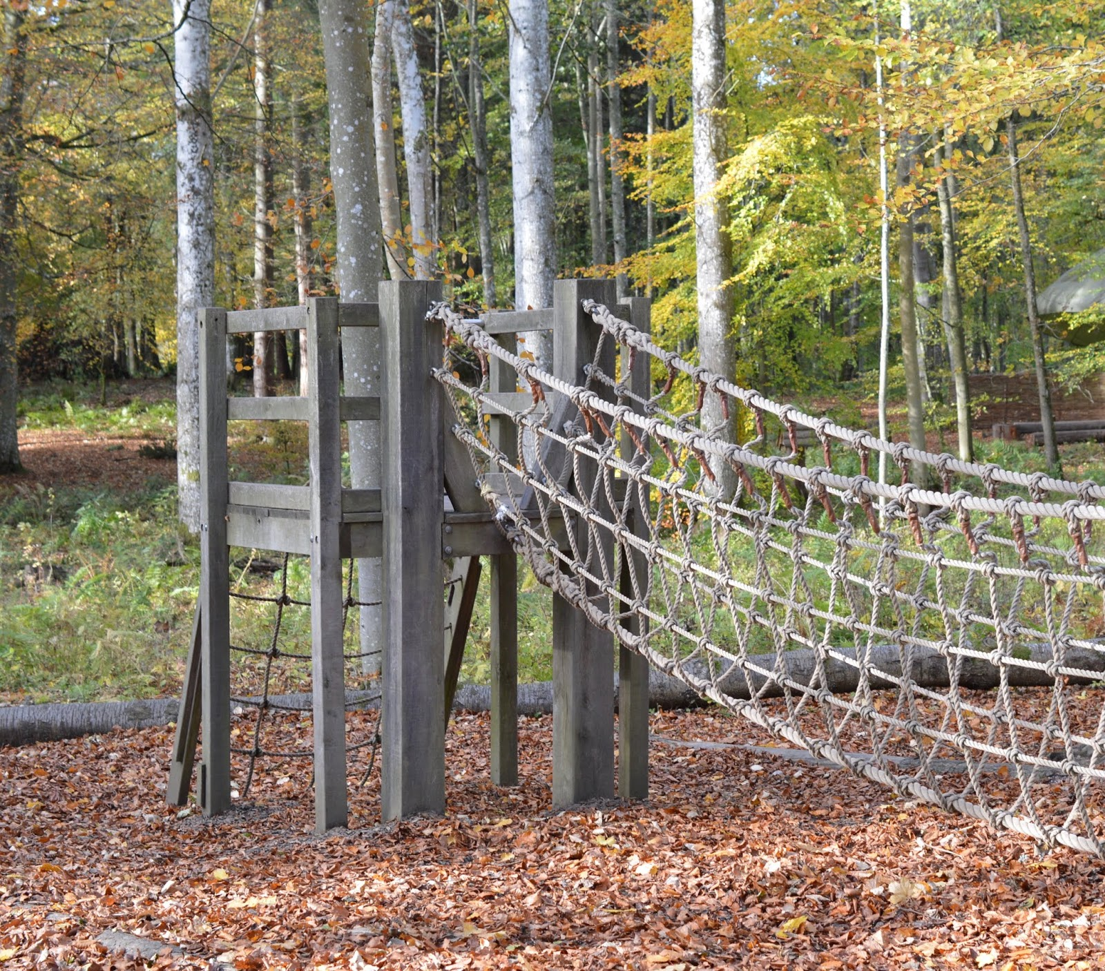 Visiting the Adventure Playground & Outdoor Play Areas at Wallington Hall  - climbing net