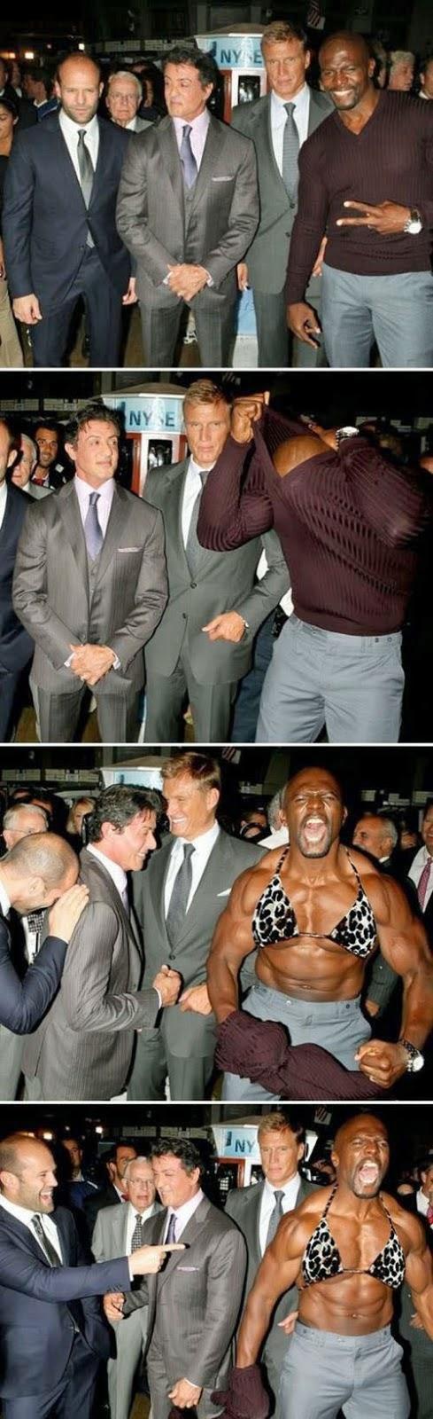 Lustige Prominente Bilder - Muskeln spielen lassen