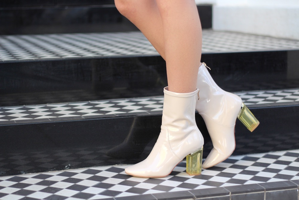 cream perspex heel ankle boots