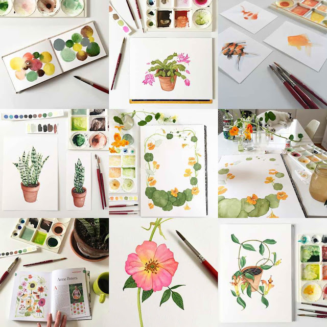 instagram, best nine, #bestnine, #instagrambestnine, watercolor, painting, botanical watercolor, Anne Butera, My Giant Strawberry