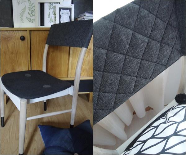 przeróbka krzesła, pikowane oparcie