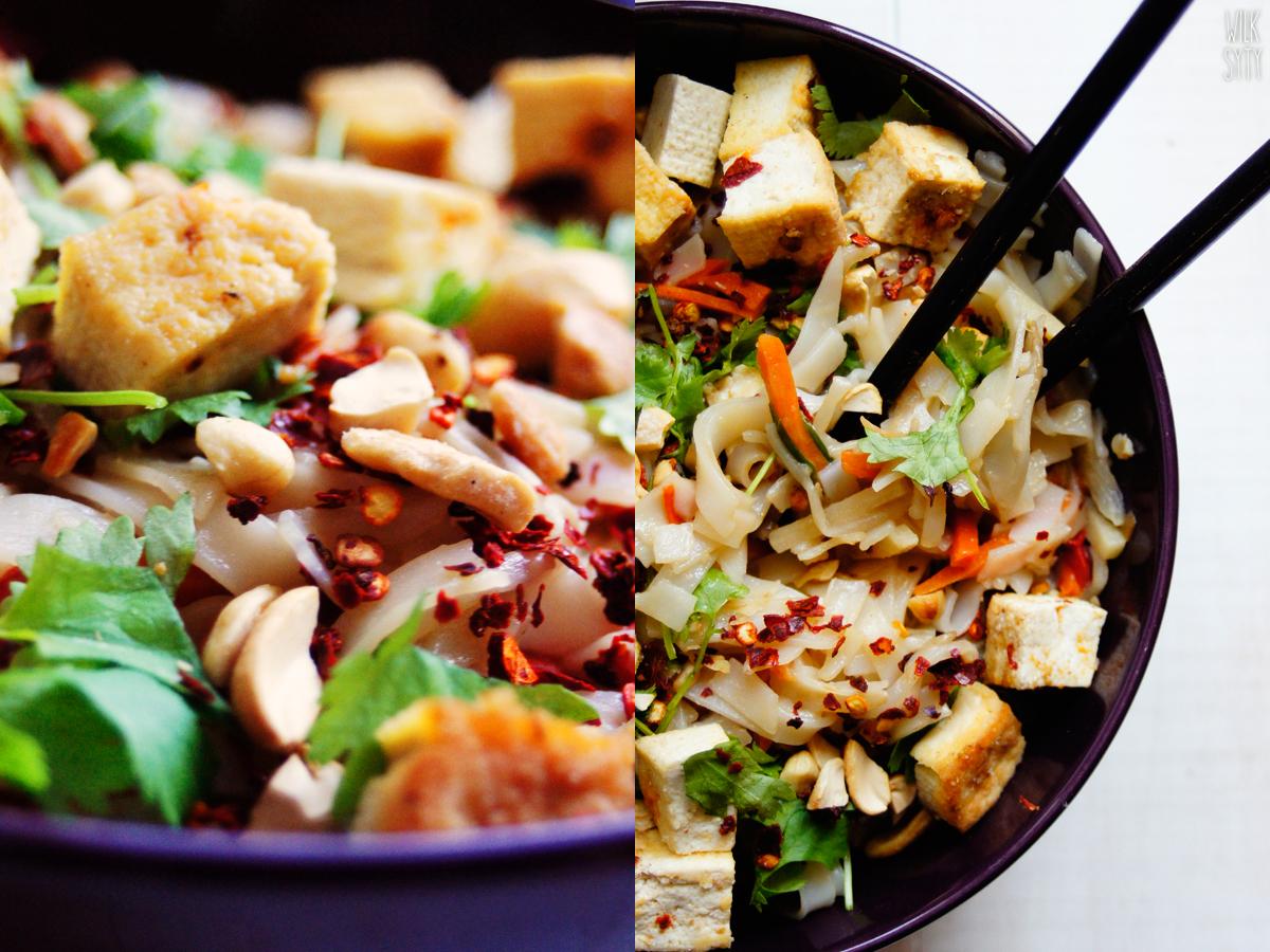 pad thai, wegański obiad, bez mięsa, tofu, kuchnie świata, makaron ryżowy, kuchnia tajska