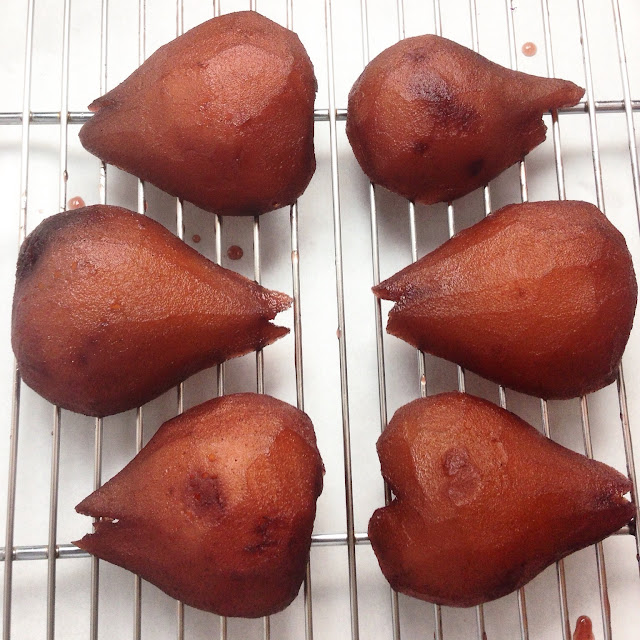 Cooling Spiced Wine Poached Pears
