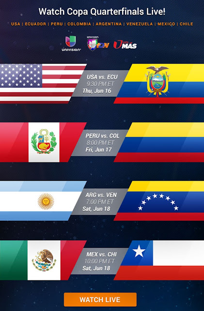 2016 Copa America Quarter-Final Schedule On TV